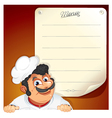 cartoon chef with blank menu vector image