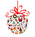 christmas ball with ornaments vector image