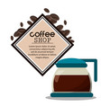 coffee shop glass pot poster vector image vector image