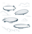 collection of vintage airships - hot air balloons vector image