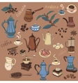 colored coffee collection - hand drawn vector image
