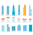 Different Buildings color silhouettes collection vector image
