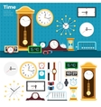 Different clocks in the room vector image vector image