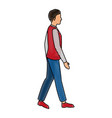 drawing young guy walking casual clothes vector image