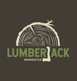 emblem lumber wood with axe lumberjack vector image vector image