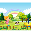 Girl throwing bone for dog in the park vector image vector image