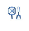 grill pan line icon concept grill pan flat vector image vector image