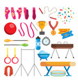 gymnastics icons set gymnastic accessories vector image