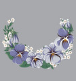 half-round floral frame wreath with viola flowers vector image