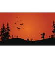 Halloween red background scenery vector image vector image