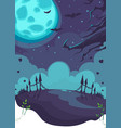 halloween theme on background moon vector image vector image