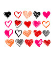 hand drawn valentine hearts vector image