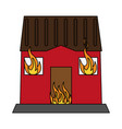 house burning fire vector image