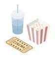 isometric movie theater soda popcorn ticket vector image vector image