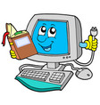 it computer with book vector image