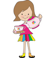 little girl tea vector image vector image