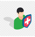 male and shield isometric icon vector image vector image