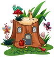 many insects around the stump tree vector image vector image