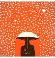 Men under umbrella on hearts shapes rainy vector image vector image