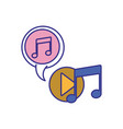 music note with speech bubble isolated icon vector image vector image