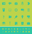 Photography related item color icons on green vector image