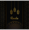 ramadan kareem card design with hanging golden vector image vector image