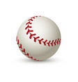 realistic baseball ball leather 3d white softball vector image vector image