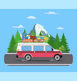 road travel trailer driving on forest area road vector image vector image