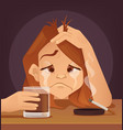 sad unhappy young woman teenager character cryo vector image