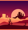 sandy desert with cacti and rocky mountains vector image vector image