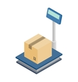 Scales for weighing with box icon vector image