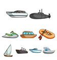 sea transport boats ships to transport people vector image vector image