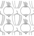 seamless black and white pattern with beets and vector image vector image