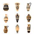 set ancient ornamethal old greek or rome vase vector image