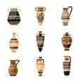set ancient ornamethal old greek or rome vase vector image vector image