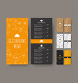 set of coffee narrow menu for a cafe or vector image vector image