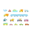 Set of transport Variety machines methods cargo vector image