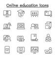 set online education related line icons vector image