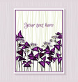 template design with oxalis triangularis leaves vector image vector image