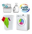 wash laundry washing equipment set vector image vector image