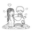 wedding couple marriage cute cartoon in black and vector image