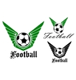 Winged football or soccer emblem vector image vector image