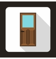 Wooden door with glass icon in flat style vector image vector image