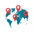 world map destination pins concept of global gps vector image vector image