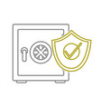 yellow line strong box object with shield security vector image vector image