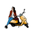 a girl happily driving a scooter vector image
