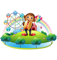 A monkey with a ferris wheel and balloons at the vector image vector image