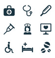 antibiotic icons set with body check drug aid vector image vector image
