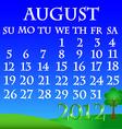 August 2012 landscape calendar vector image