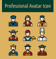 avatar linear color icon vector image vector image
